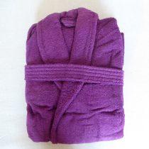 Frottír sálgalléros köntös, Sötétpink/lilás (100 % pamut), S