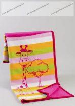 Mintás pamut pléd, Pink zsiráfos, 90x120 cm - Naturtex