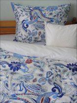 Elegancia Kék indás pamut-szatén ágyneműhuzat, 3 részes