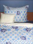 5 részes (kétszemélyes)   Kék virágos pamut-szatén ágyneműhuzat