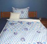 Elegancia Blue Blumen pamut-szatén ágyneműhuzat, 3 részes