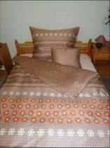 Elegancia barna körös pamut-szatén ágyneműhuzat, 3 részes
