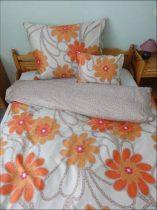 Elegancia Orange Blumen pamut-szatén ágyneműhuzat, 3 részes