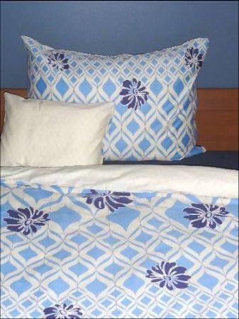 Elegancia Blue Blumen/Rombusz pamut-szatén ágyneműhuzat, 3 részes