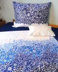 Elegancia Kék virágos - Bézs/Blue flower pamut-szatén ágyneműhuzat, 3 részes