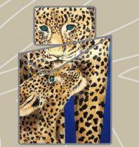 Billerbeck Bianka 3 részes pamut-szatén ágyneműhuzat, Leopárd kék