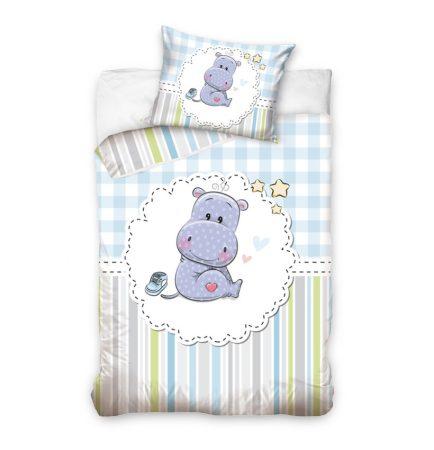 Hippopotamus/Víziló ovis/baba ágyneműhuzat, Kék