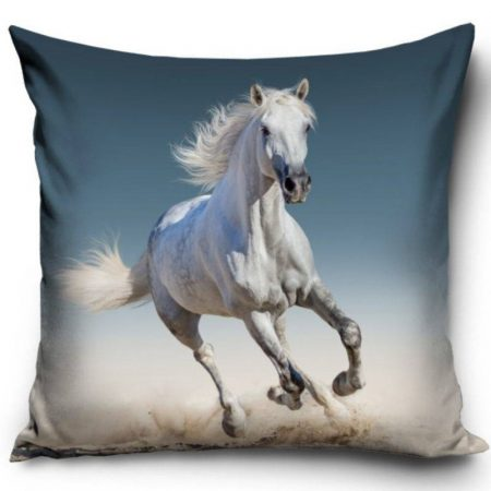 Lovas - fehér ló díszpárnahuzat, 40x40 cm (1054)