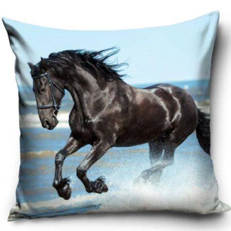 Lovas - fekete ló díszpárnahuzat, 40x40 cm (1056)