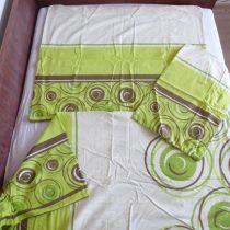 Zöld körös 3 részes flanel ágyneműhuzat (100 % pamut)