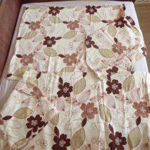Bézs-barna virágos 3 részes flanel ágyneműhuzat (100 % pamut)