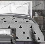 Elegancia ágytakaró, Szürke csíkos/háromszög, 240x260 cm (6209)