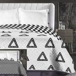 Elegancia ágytakaró, Fehér-fekete dupla háromszög, 240x260 cm (6179)