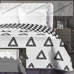 Elegancia ágytakaró, Fehér-fekete dupla háromszög, 220x240 cm (6186)