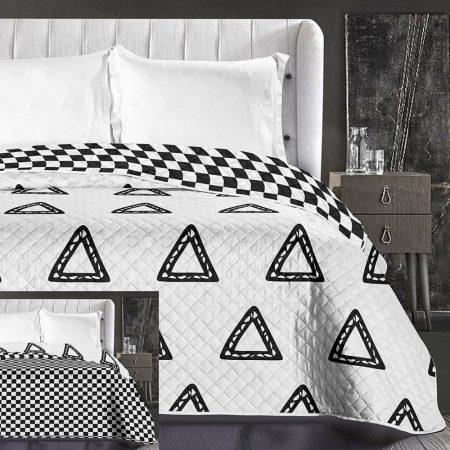 Elegancia Triumph ágytakaró, Fehér-fekete dupla háromszög, 220x240 cm (6186)