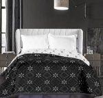 Elegancia ágytakaró, Fekete virágmintás, 220x240 cm (6391)