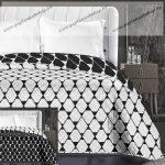 Elegancia ágytakaró, Fekete-fehér trapéz, 240x260 cm (6599)