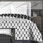 Elegancia ágytakaró, Fekete-fehér trapéz, 220x240 cm (6605)