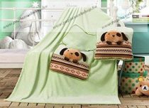 Plüss pléd + díszpárnahuzat, Green Puppy, 160x110 cm