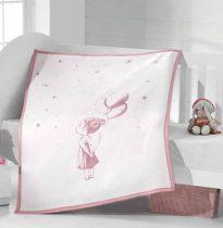 Bézs-pink pléd, Kislány lufikkal, 70x100 cm