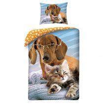 Cica és kutya ágyneműhuzat (100% pamut)