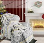 Karácsonyi karácsfa mintás pamut pléd, 150x200cm