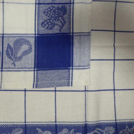 Gyümölcsmintás konyharuha, Kék, 50x70 cm