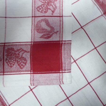Gyümölcsmintás konyharuha, Piros, 50x70 cm