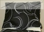 Fekete alapon körös pamut-szatén félpárnahuzat, 50x70 cm