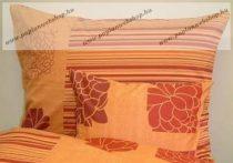 Narancs virágos pamut-szatén félpárnahuzat, 50x70 cm