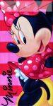 Minnie Mouse törölköző, pink stripe, 70x140 cm