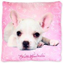 Kutyus pink díszpárna, 40x40 cm