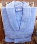 Frottír sálgalléros Kék-égkék köntös (100 % pamut), L