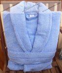 Frottír sálgalléros Kék-égkék köntös (100 % pamut), XL