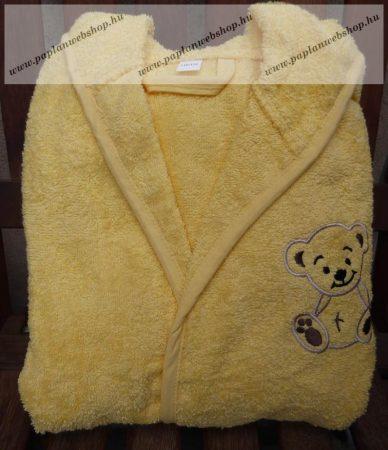 98-104-es Frottír kapucnis pamut gyerekköntös, sárga macis