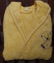 110-116-os Frottír kapucnis pamut gyerekköntös, sárga macis
