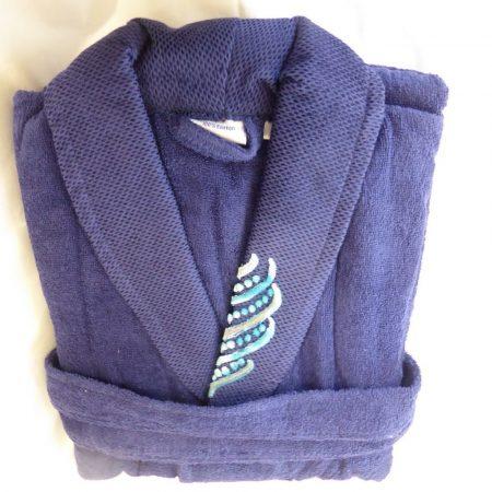Frottír sálgalléros köntös, Kék Elegant Díszítéssel (100 % pamut), L