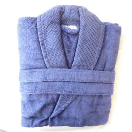 Frottír sálgalléros köntös, Kék Elegant (100 % pamut), L
