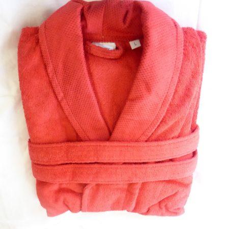 Frottír sálgalléros köntös, Piros Elegant (100 % pamut), L